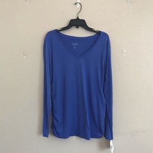 Isabel Maternity Blue XL V-Neck Long Sleeved Tee